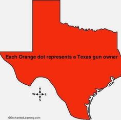 Since newspapers are publishing maps of gun owners in NY, we thought it only fair to do the same in Texas. Attached is a map of Texas gun owners. Each orange dot is a gun owner.