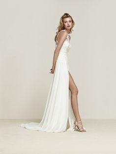 Vestido de novia evasé en georgette