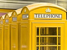 Yellow telephone booths