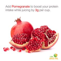 Add Pomegranate to boost your protein  intake while juicing by 3g per cup. #7dayjuicepal #boostyourprotein