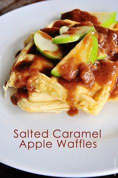 Salted Caramel Apple Waffles An easy-to-follow, simple breakfast recipe. Perfect Fall Breakfast!