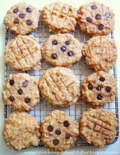 {school day grab and go--PB oat breakfast cookies. High protein, no flour or processed sugar..(Ingredients: bananas, peanut butter, applesauce, vanilla, quick oatmeal, nuts, optional chocolate chips)}