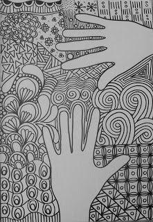 Tekenpraktijk De Innerlijke Wereld: KLEUREN of TANGLEN: hands