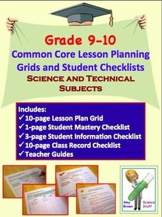 Common Core Lesson Planning Grids and Assorted Checklists For Science and Technical Standards in Grades 9 - 10 This document includes the. Science Curriculum, Science Education, Homeschool Curriculum, Education Sites, Physical Science, Biology Classroom, High School Classroom, Common Core Checklist, Common Core Science