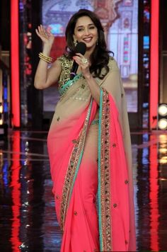 Madhuri Dixit Stylish Pink Shaded Sarees 2014 by Arpita Mehta (10)