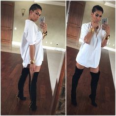 fashion, street style, high knee boots with white oversized shirt, inspiration, spring outfit
