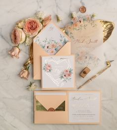 Rose Gold Wedding Invitations Geometric Gold Foil Heart with Peach Roses Vellum envelope and Wax Seal - Hochzeitseinladung Wedding Cards Handmade, Handmade Wedding Invitations, Modern Wedding Invitations, Wedding Invitation Cards, Invitation Ideas, Invite, Wedding Pins, Wedding Ideas, Wedding Wishes