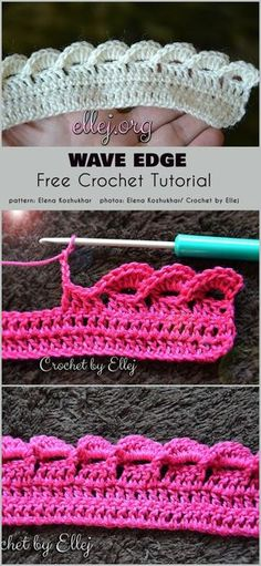 Wave Edge Free Crochet Pattern Edges are a sometimes overlooked aspect of crocheting projects. What's the point of crocheting a beautiful central motif for the project, and doing the edge Crochet Border Patterns, Crochet Blanket Border, Crochet Boarders, Crochet Designs, Stitch Patterns, Crochet Edges For Blankets, Crochet Wave Pattern, Free Pattern, Crochet Blanket Stitches