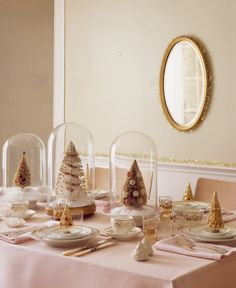 christmas tree centerpieces for Christmas themed Winter Wedding in ivory and gold