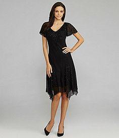 Jkara Flutter-Sleeve Beaded Dress
