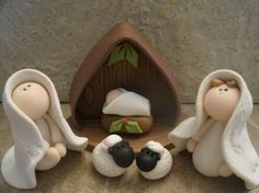 Nativity out of fimo clay for seans mom Nativity Crafts, Christmas Nativity, Christmas Crafts, Christmas Decorations, Christmas Ornaments, Fimo Clay, Polymer Clay Projects, Polymer Clay Art, Diy Pour Enfants