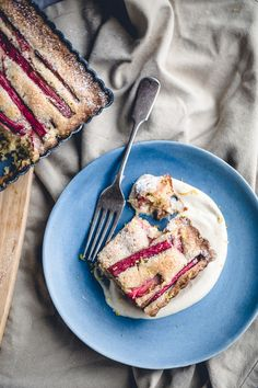 Rhubarb Almond Cake with Amaretto Cashew Cream (Dairy Free) via Artful Desperado