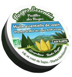 Pastilles bio à l'huile essentielle de sapin, miel et plantes des Hautes Vosges