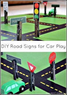 DIY road signs for car play that are interchangeable and great for fine motor development from And Next Comes L DIY interchangeable road signs: Homemade toys for kids Learning Activities, Preschool Activities, Creative Curriculum Preschool, Diy For Kids, Crafts For Kids, Block Area, Block Center, Block Play, Transportation Theme