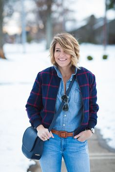 I was shopping at Old Navy for the bunnies last week when I spotted this Plaid Bomber on the clearance rack for 17 bones and KNEW she had to be mine Fashion Bloggers Over 40, Fashion Over 40, Saddles, Seersucker, Denim Fashion, Chambray, Denim Jeans, Winter Fashion, Plaid