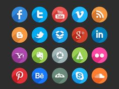 45 Long Shadow Social Media Icons (Free Psd)