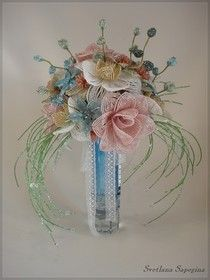 Букет невесты из бисера   ¡que delicadeza, hasta el color es hermoso¡