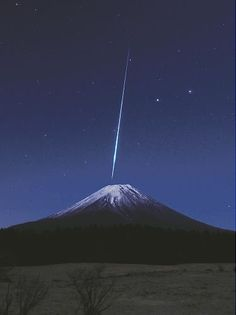 Stars over Mt.Fuji by night, Japan.