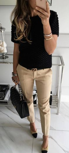 office style addict / black top + bag + pants + loafers