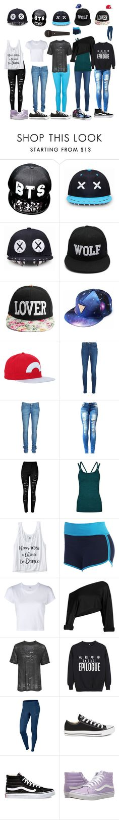 """On Stage Girl Group"" by travelplaces ❤ liked on Polyvore featuring Nintendo, Levi's, Wrangler, Sweaty Betty, RE/DONE, Topshop, NIKE, Converse, Vans and Gotta Flurt"