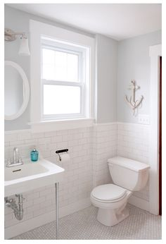 Home Depot marble hex w/Home Depot subways and a salvaged wall-hung sink