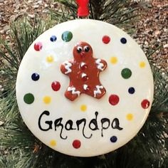 "Ginger Spice Ornament:  Round  Custom lettering: ""Grandpa"" ~ Ginger Spice & Ornaments collections"
