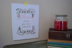 Bloom Where You are Planted Quote - Garden, Floral, Inspirational Decor
