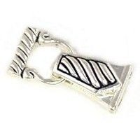 Bright Silver Striped double strand 2 hole magnetic clasp