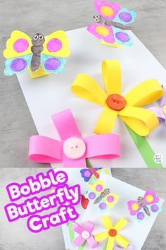 Fluttering Butterfly Craft - A fun and engaging Spring craft for kids!, Fluttering Butterfly Craft - A fun and engaging Spring craft for kids! This Bobble Butterfly craft is so adorable and easy to ma - Spring Crafts For Kids, Paper Crafts For Kids, Easy Crafts For Kids, Summer Crafts, Easter Crafts, Diy For Kids, Diy And Crafts, Craft Kids, Cereal Box Craft For Kids