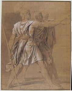 Jacques-Louis David – Etude pour le Serment des Horaces: les trois Horaces, 1783 | Bayonne, musée Bonnat-Helleu