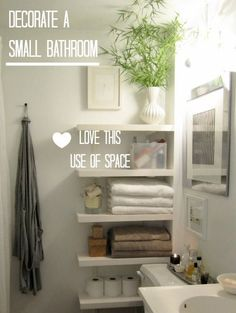 Floating shelves create space in the narrow area by toilet (just remember there are lots of germs in this area).