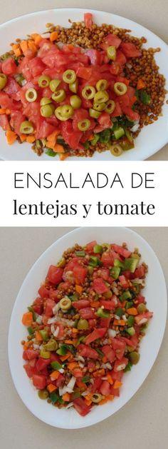 Ensalada de lentejas con tomate y cebolla - Thank Tutorial and Ideas Healthy Salad Recipes, Veggie Recipes, Real Food Recipes, Vegetarian Recipes, Healthy Cooking, Healthy Eating, Slow Food, Going Vegan, I Love Food