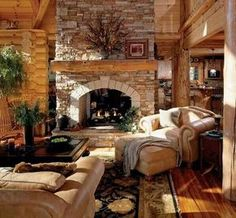 4 Simple and Crazy Ideas Can Change Your Life: Fireplace And Mantels Tvs large victorian fireplace.Simple Fireplace Bathroom fireplace and mantels traditional.Fireplace With Tv On Side. Log Cabin Kits, Log Cabin Homes, Log Cabins, Mountain Cabins, Mountain Living, Interior Exterior, Home Interior, Interior Design, Rustic Living Room Furniture