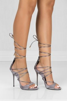 Summer features an open toe, stiletto heel, front lace up with metallic details, smooth satin material and a lightly padded insole for comfort. Fits true for most! Heel: All styles are in U. Stilettos, Stiletto Heels, High Heels, Shoes Heels, Unique Shoes, Cute Shoes, Girls Heels, Glamour, Prom Shoes