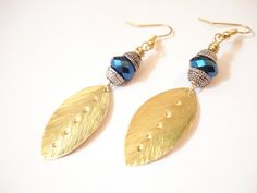 Hammered Brass Blue Earrings Bronze Leaf Czech Crystal Beads Wrapped Christmas Gifts Contemporary Metalwork and Crystals Handmade Earrings