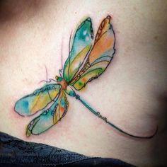 Instagram media by tarahpennington - Dragonfly for Sonya today! #tattoo #twobirdstattoo #dragonfly #watercolor #femaletattooartist #ladytattooer #colorwork #fusionink #rad #seattle