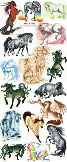 by jen-and-kris on DeviantArt Beatiful done. # sketches # sketches # watercolor # horses in watercolor # beautifully painted horses Creature Drawings, Horse Drawings, Cute Animal Drawings, Cute Drawings, Mythical Creatures Art, Magical Creatures, Fantasy Creatures, Arte Equina, Equine Art