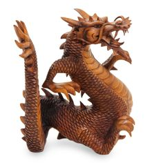 Suar Wood Carving from Indonesia, 'Legendary Dragon'