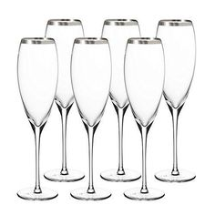 Culinary Concepts Set Of 6 Crystal Champagne Flutes - Silver – Beaumonde ®