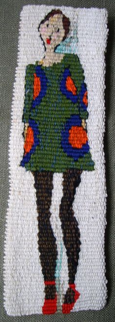 "Rachel Hine ""Mary Mekko"" woven tapestry, cotton, polyester 90mm x 60mm, 2013"