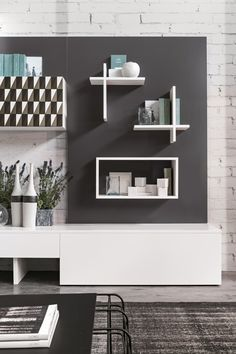Mueble modular de pared composable de madera de estilo moderno Magnetika living M01 Colección Magnetika living by Ronda Design