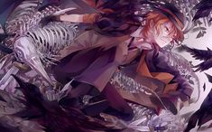 This wallpaper has tags of Chuya Nakahara, Bungo Stray Dogs, Anime, Bungou Stray Dogs Wallpaper, Dog Wallpaper, Wallpaper Backgrounds, Manga Anime, Anime Art, Anime Boys, Bungou Stray Dogs Chuya, Stray Dogs Anime, Vocaloid