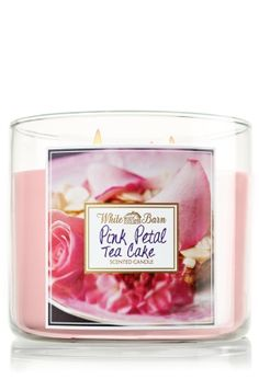 Pink Petal Tea Cake 14.5 oz. 3-Wick Candle - Slatkin & Co. - Bath & Body Works  ~  Indulge in the sumptuous delight of garden rose petal fragrance mingled with the scent of freshly baked cake & vanilla glaze.