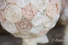 Bride's  Bouquet, fabric flower bridal bouquet in ivory and cream rosettes, Shabby chic wedding bouquet for country wedding. $125.00, via Etsy.