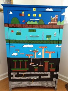 Mario Nintendo Furniture Dresser Video Game Cabinet Store Painted Heather Turner