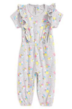 Grey Splatter Ruffle Romper (Baby Girls 12-24M)