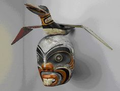 kwakiutl transformation masks | Pugmis, or Merman mask with an articulated loon on his head. This ...