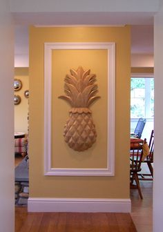 Wood Carved Onlay - Carved Classic Pineapple- instead of the standard artwork. Pineapple Wall Decor, Pineapple Kitchen, Pineapple Art, Pineapple Decorations, Pineapple Express, Pinapple Decor, Tips And Tricks, Wooden Decor, Wooden Walls