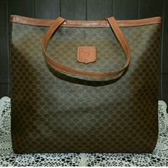SALE!!! Auth. Vintage Celine Tote Handbag Shows normal wear. Minor rubs/scuffs. No tear or holes.  Width : 16.5 inch Height : 12.2 inch Handle : 21.26 inch  Color : Deep Brown Material :Macadam PVC Country of Manufacture : Italy Code: M07 Celine Bags Shoulder Bags