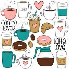 Coffee Lover Hand Drawn Digital Clipart - Set of 20 - Coffee, Latte, Donuts, Coffee Beans - Instant Coffee Doodle, Lovers Hands, Coffee Drawing, Bullet Journal Art, Cute Doodles, Coffee Beans, Easy Drawings, Doodle Art, Planner Stickers